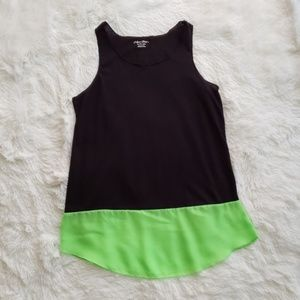Black See Through Tank Top With A Green Bottom